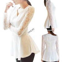 Women Lace Regular 4pcs lot Fashion Women's V-neck Chiffon Lace Blouses Peplum Long Sleeve Top S-XXL Large size 2 Colors 19283