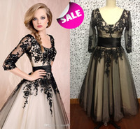 Wholesale Cheap hot selling Sexy Scoop Neckline Half Sleeves Beaded Black LACE lady Evening Dress Party Gowns Prom Dresses