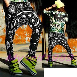 Wholesale FASHION WOMEN S HIP HOP PRINTED BLACK HAREM PANTS CASUAL BAGGY YOGA CLOTHES DANCEWEAR SWEATPANTS CHEAP SPORT WEAR WIDE LEG TROUSERS CLOTHING