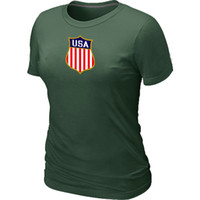 Women Bamboo Fiber Round 2014 Women's Olympic Team USA Ice Hockey Olympics KO Collection Locker Room T-Shirt Jerseys Dark Green fashion clothes