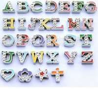 Wholesale 260Pcs mm Colorful Slide Alphabet Letter Charms A Z Cross Heart Star Half Of Top Side With Rhinestone
