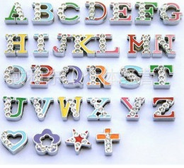 260Pcs Lot 8mm Colorful Slide Alphabet Letter Charms A-Z Cross Heart Star Half Of Top Side With Rhinestone