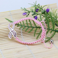 Cheap Fashion 10X Pink Crystal Ribbon Bead Breast Cancer Awareness Weave Charm Bracelet