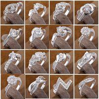 Wholesale 36PCS Mixture Ladies Fashion Rings Silver Multi Rhinestone Dazzling Rings Fashion Rings Good Gift Size New
