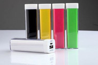 Wholesale 2600MAH MINI Lipstick mobile power for cellphone IPOD MP3 MP4 IPHONE GPS Bluetooth digital camera power station pcslot DHL ship