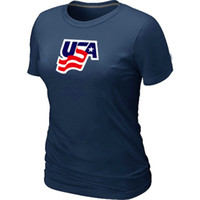 Women Bamboo Fiber Round 2014 Women's Olympic Team USA Ice Hockey Olympics Graphic Legend Locker Room T-Shirt D.Blue Jerseys Dark Blue Poupler clothes