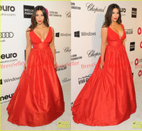 Wholesale 87th Oscar Red Carpet Kim kardashian Attractive Deep V neck A line Long Red Chiffon Bodice Red Taffeta Skirt Evening Celebrity Dresses