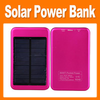 Wholesale 5000mAh Solar Power Bank Solar Energy Panel External Backups Battery with AC DC Adapter for Mobile Phone PAD Tablet