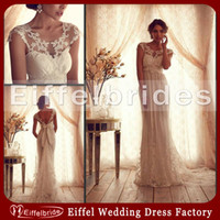 Wholesale 2014 Fashion Anna Campbell Wedding Dresses with Sexy Sheer Embroidery Jewel Neckline and Embellished Bow Lace Empire Maternity Bridal Gowns