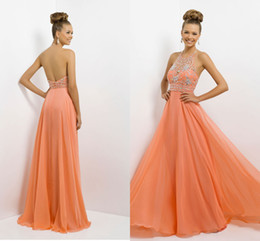 Wholesale Newest Beautiful Prom Dress A Line Halter Backless Sequins Diamond Floor Length Chiffon Orange Party Dresses Prom Gowns