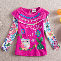 2014 new girls Owl Dresses Long- sleeved T- shirt sweet cute g...