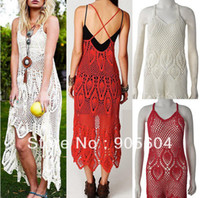 Casual Dresses V_Neck A Line 2014 Trendy Fashion Elegant Women's Vintage Boho V Neck Plunging Back Criss Cross Strap Crochet Maxi Dress Ladies Long Dresses
