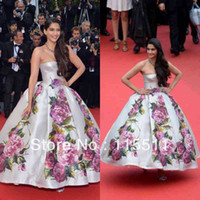 Reference Images Strapless Tulle Custom made sonam-kapoor-poses Cannes Festivel Myriam fares Celebrity Dress Appliques Strapless Satin ball gown evening dresses