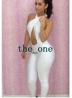 Wholesale lingerie women party clothes jumpsuit New Fashion Black White Sexy Women s Bodycon Backless Party Club Wear EMS FREE