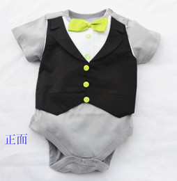 Doomagic Baby One-pieces Romper Green Bowties Tuxedo Vest Bodysuits Gentleman bodysuit TOP QUALITY 2 style Retail Drop Shipping