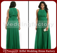 Wholesale Hot Sale High Quality Emerald Green Plus Size Formal Dresses A Line Crew Sleeveless Ruched Chiffon Evening Prom Party Gowns Custom Made