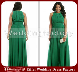 Wholesale Emerald Green Plus Size Formal Dresses A Line Crew Sleeveless Ruched Chiffon Evening Prom Gowns
