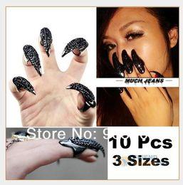 Wholesale False Nail Black Crystal Claw Paw Talon Finger Ring Rhinestone Punk Catwoman New
