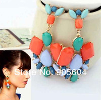 Wholesale Fashion Lady s Bohemia Colorful Resin Drop Golden Dangle Earrings Stud
