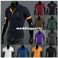 Dress Shirts 100% Cotton Men wholesale 50pcs hot summer deer Men's Casual Slim Fit Stylish Short-Sleeve polo Shirt 10 color M-XXL free shipping