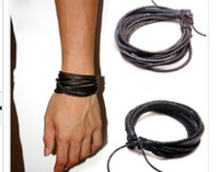 Wholesale 2014 Fashion Jewelry Wrap Charm Genuine Leather Bracelet with Braided rope Unisex for Men amp Women