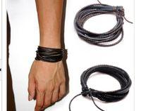 Charm Bracelets Mexican Women's 2014 Fashion Jewelry Wrap Charm Genuine Leather Bracelet with Braided rope Unisex for Men & Women