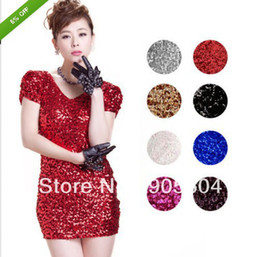 Wholesale Promotions Fashion Sexy Bling Sequins Silm Mini V Neckline Disco Bodycon Cap Sleeve Clubwear Ladies Clubbing Party Dresses
