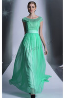 Model Pictures Floor-Length Chiffon 2014 Fashion Green Jewel Short Sleeves A Line Floor Length Zipper Crystal Beads By Heated Tencel Chiffon Party Dresses