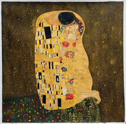 Wholesale Gustav Klimt Kiss oil painting wall art for living room or hotel canvas painting M