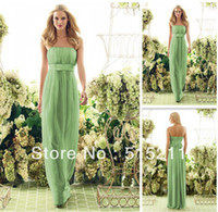 Reference Images Sleeveless Yes Elegant Ruched Strapless Empire Waist Lime Green Chiffon Floor Length Bridesmaid Dress Long Party Gowns 2014 Free Shipping