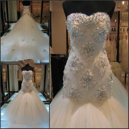 Wholesale Cuatom Made White A line Sleeveless Monarch Train Rhinestone Wedding Dresses Sweetheart Zipper Back Applique Ball Bridal Gown For Bride