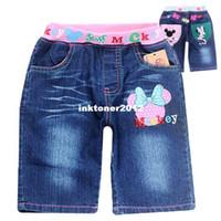 Shorts Unisex Summer 2014 HOT Fashion new children bule denim jeans baby wear girls jeans MINNIE MOUSE kids causal pants trousers wholesale