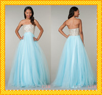 Reference Images Strapless Tulle 2014 Prom Dresses 6170 Aqua Strapless Tulle Ball Gowns Ruffles Crystals Beaded Sequins Long Evening Formal pageant Dress Gowns