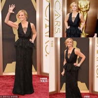 Reference Images V-Neck Lace 2014 Mysterious Julia Roberts Black Lace Celebrity Formal Gowns Sheath Deep V Neck Sheer Peplum 86th Oscar Award Red Carpet prom Dresses
