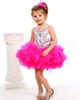 Wholesale Halter beaded Sequins belt corset organza ruffles infant tollder cupcake pageant dresses ball gown girl s Cupcakes Little baby short dress