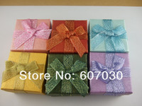 Wholesale x5cm Assorted Color Paper Jewelry Ring Box Print Rose Jewelry Packaging Ring Earring Gift Box
