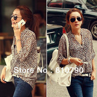 Women Polyester Button Spring Clothes Hot Sale Chiffon Sexy Women Casual Wild Leopard Shirt Three-Quarter sleeved S M L Summer Shirt 1pcs lot