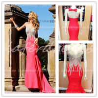 Wholesale tarik ediz Hot Selling Sheer Neckline Mermaid Water Melon Satin UK Evening Gowns with Delicate Beads Celebrity Dresses Prom Dress