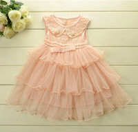 Wholesale 2014 New Style Pearl Flowers Bead Lace Cover Sleeveless Children Girls Pink Party Dress Kids Dresses Fancy Tiered Gauze Dress B2980