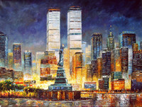 One Panel Oil Painting Abstract Wholesale Free Shipping Modern Tall Buildings, Oil Painting Wall Art for Living Room or Hotel M-0098