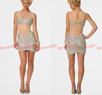 Wholesale 2014 Sexy Illusion Crew Cover Sheer Back Short Mini Sheath Nude Tulle Rhinestones Crystals Heavy Beaded Party Cocktail Dresses