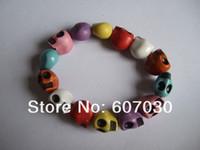 Wholesale 12pcs x12x8MM Colorful Acrylic Skull Beads Fashion Bracelets A1646