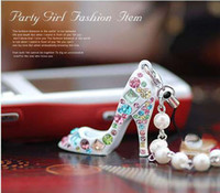 Wholesale Fashion creative Crystal Diamond sparkle High heels shoe phone chain Keychain Jewelry