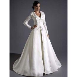 Wholesale Bridal Satin Full Length Coats Gracie Bleu Long Sleeves A line Eternity Bride Winter Wedding Party Jacket