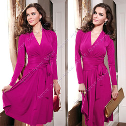 Wholesale 2014 Women Dresses New Fashion Long Sleeve V neck Pleats Knee Length Dress