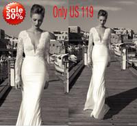 blanc à manches longues en dentelle robes de mariée plonger avec col en V et dos nu longueur au sol robes de mariée 2014 satin robes de mariée BO3039