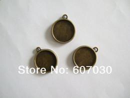 Wholesale Bulk Bronze Tone mm Round Pendant Trays Blank Bezel Bases Double sided On Zinc Alloy Lead and Nickel Free