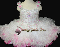 Wholesale Straps beaded Sequins corset organza ruffles infant cupcake pageant dresses ball gowns mini girl s Cupcakes Little Rosie short dress