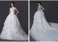Wholesale Elegant Real Sample Sweetheart Sequin Handmade Beading Appliques Long Tail Classic Bridal Organza A line Wedding Dresses