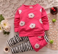 Girl Spring / Autumn Long Wholesale -Spring autumn girl clothes girls flower suit flower coat+stripe pants 2 pieces 100% cotton 5 color 4s l